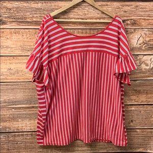 Terra & Sky Red & White Striped Ruffle Sleeve Top